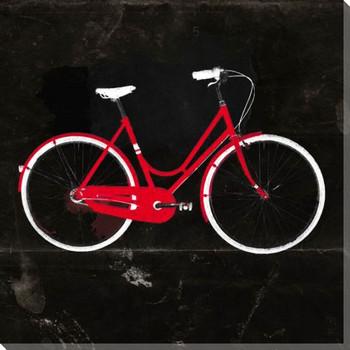 Gold Beach Bike Dark Wrapped Canvas Giclee Print Wall Art