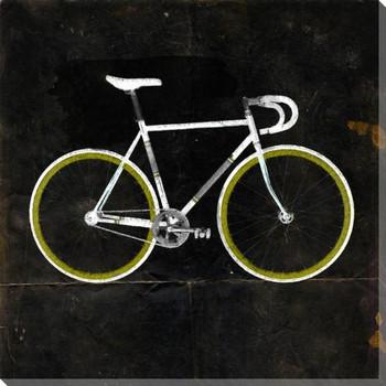Green Racer Bike Dark Wrapped Canvas Giclee Print Wall Art