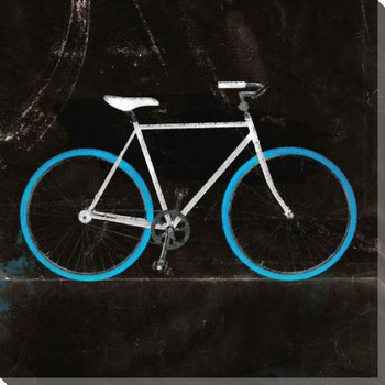 Blue Mountain Bike Dark Wrapped Canvas Giclee Print Wall Art