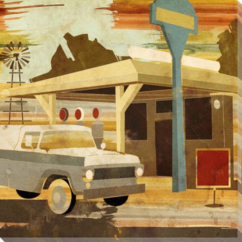 Main Street Service One Truck Wrapped Canvas Giclee Print Wall Art
