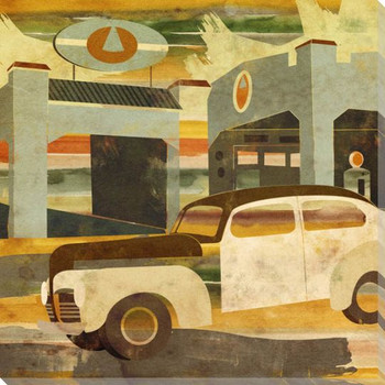 Main Street Service Three Car Wrapped Canvas Giclee Print Wall Art