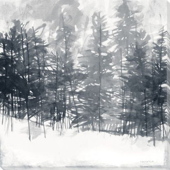 Winter Pine Trees Wrapped Canvas Giclee Print Wall Art