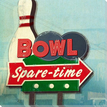 Retro Bowling Sign Wrapped Canvas Giclee Print Wall Art