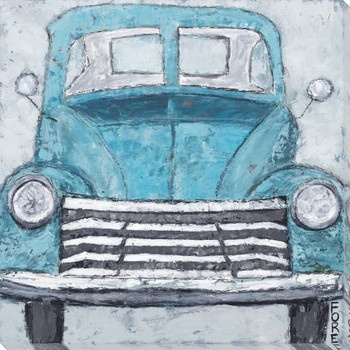 Vintage Blue Vehicle Wrapped Canvas Giclee Print Wall Art