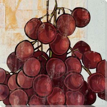 Red Grapes Wrapped Canvas Giclee Print Wall Art