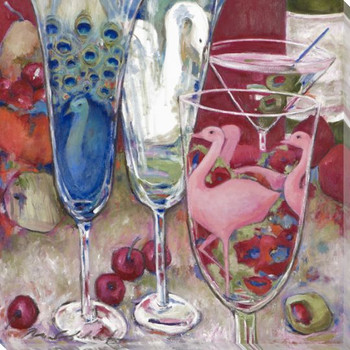 Cheers Assorted Glasses Wrapped Canvas Giclee Print Wall Art