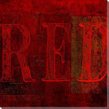 """Red"" Block Wrapped Canvas Giclee Print Wall Art"