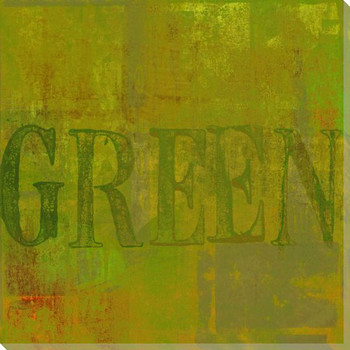 """""""Green"""" Block Wrapped Canvas Giclee Print Wall Art"""
