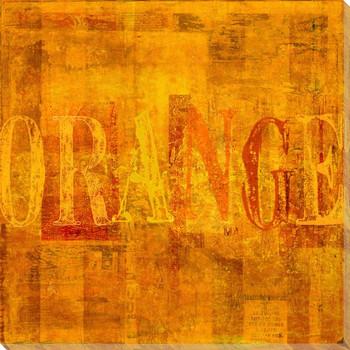 """Orange"" Block Wrapped Canvas Giclee Print Wall Art"