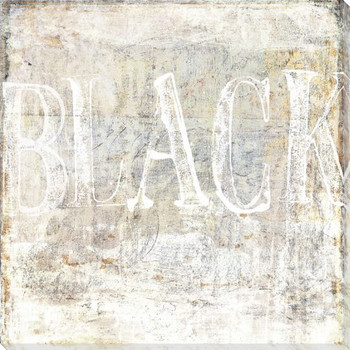 """""""Black"""" on White Block Wrapped Canvas Giclee Print Wall Art"""