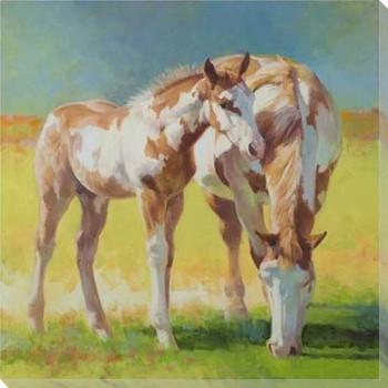 Horses Grazing Wrapped Canvas Giclee Print Wall Art