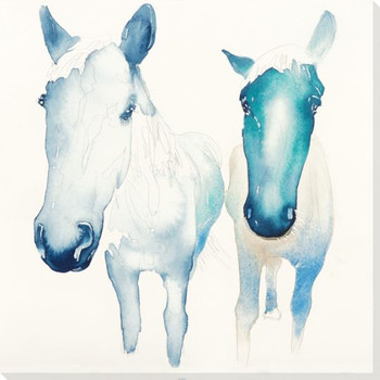 Eager Two Horses Wrapped Canvas Giclee Print Wall Art