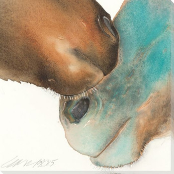 Nuzzle Two Horses Wrapped Canvas Giclee Print Wall Art