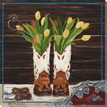 Western Boots Bouquet Wrapped Canvas Giclee Print Wall Art