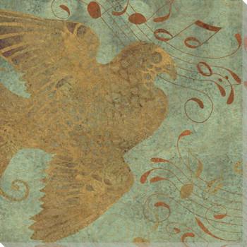 Golden Bird II Wrapped Canvas Giclee Print Wall Art