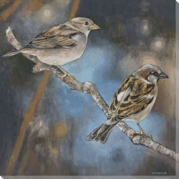 Resting Sparrow Birds II Wrapped Canvas Giclee Print Wall Art