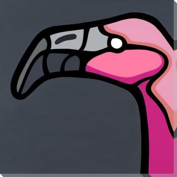 Flamingo Bird Facing Left Wrapped Canvas Giclee Print Wall Art