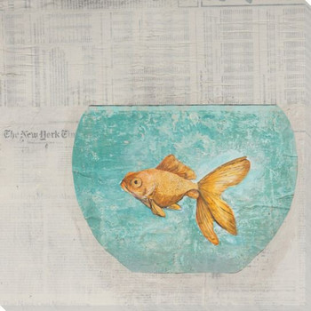 Fish Bowl Wrapped Canvas Giclee Print Wall Art