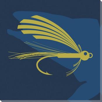 Blue Fish n' Flies Wrapped Canvas Giclee Print Wall Art