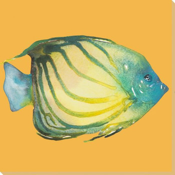 Striped Fish on Yellow Wrapped Canvas Giclee Print Wall Art