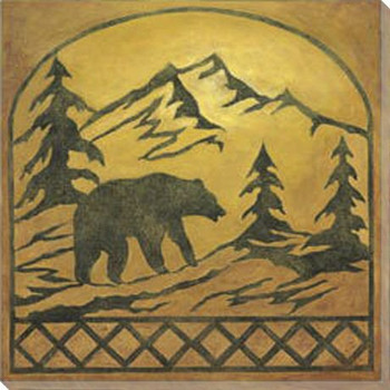 Lodge Bear Silhouette Wrapped Canvas Giclee Print Wall Art