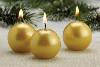 Metallic Gold Christmas Ball Candles, Set of 12
