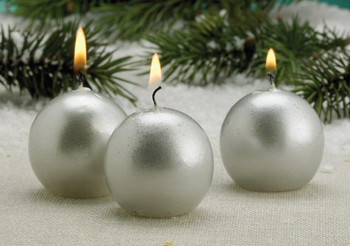 Metallic Silver Christmas Ball Candles, Set of 12