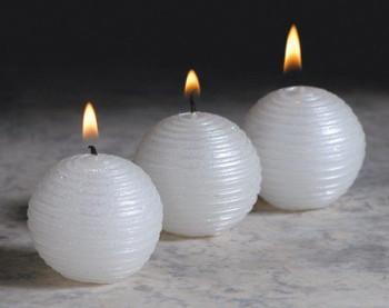 White Glitter Ball Candles, Set of 12