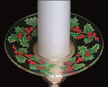 Christmas Holly Bobeche Glass Candle Wax Catchers, Set of 12