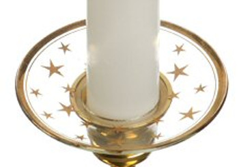 Gold Stars Bobeche Glass Candle Wax Catchers, Set of 12