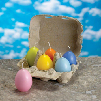 "2.25"" Assorted Colored Egg Candles, Set of 12"