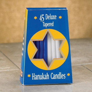"5"" Blue and White Hanukkah Taper Candles, Set of 270"