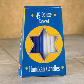 "5"" Assorted Blue and White Hanukkah Taper Candles, Set of 540"