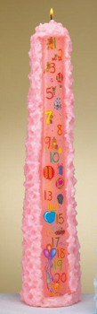 "15"" Pink Baby Shower Pillar Candle"