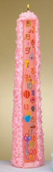 "15"" Pink Baby Shower Pillar Candles, Set of 12"