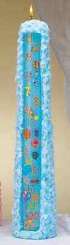 "15"" Blue Baby Shower Pillar Candles, Set of 12"