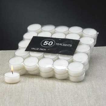 White Acrylic Cup Tea Light Candles, Set of 50