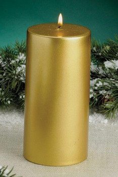 Gold Metallic Christmas Pillar Candles, Set of 4
