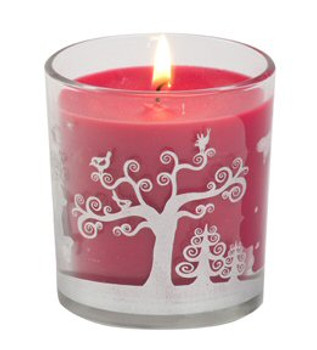 Frosted Berries Scented Tumbler with Deer Christmas Candles, Set of 12