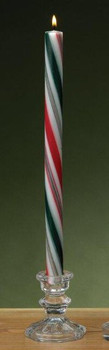 Green Red and White Striped Christmas Taper Candles, Set of 12