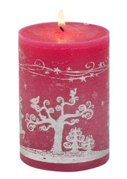 Fancy Reindeer Christmas Pillar Candles, Set of 12