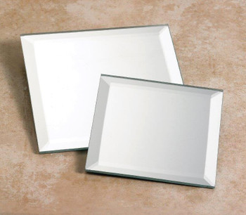 "4"" Square Beveled Mirrored Glass Candle Holder Plates, Set of 6"