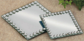 "3 7/8"" Mirror Glass Pillar Candle Holder Plates, Set of 4"