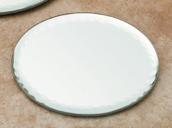 "4"" Scalloped Edge Mirrored Glass Candle Holder Plates, Set of 6"