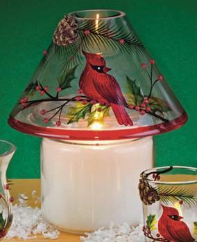 Cardinal Bird Scene Hand Painted Glass Candle Jar Shades, Set of 4