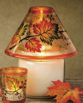 Fall Scene Hand Painted Glass Candle Jar Shades, Set of 4