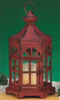 Rustic Antique Red Metal Candle Lantern Candle Holder