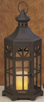 """13.5"""" Rustic Brown Metal Candle Lantern Candle Holder"""