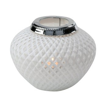 Small White Weave Daylight Glass Candle Lantern Candle Holder