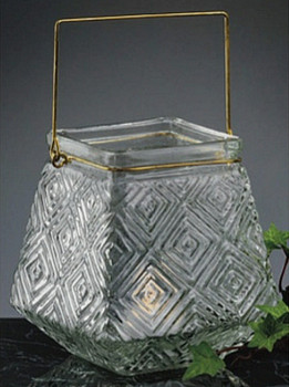 Hanging Square Cut-Glass Votive Tea Light Candle Lanterns, Set of 2